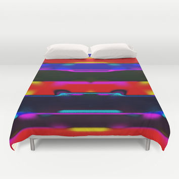 Simi 131 Duvet Cover by Gréta Thórsdóttir #thread #communication #ikat #folklore  #ethnic #tribal #stripes #bedroom