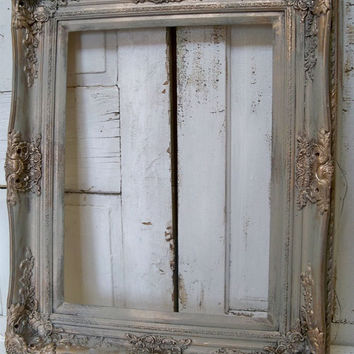 Large frame French farmhouse ornate hand painted a barn gray antique gold accents very well made heavy farmhouse home decor Anita Spero