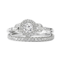 Rome Crown Unique Diamond Engagement Ring with Matching Pave Diamonds Ring - Diamond Wedding Ring set