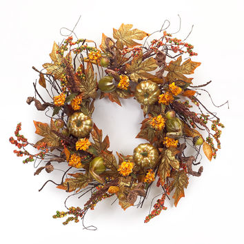 Falling Leaves Collection Pumpkin/Gourd Foilage Wreath