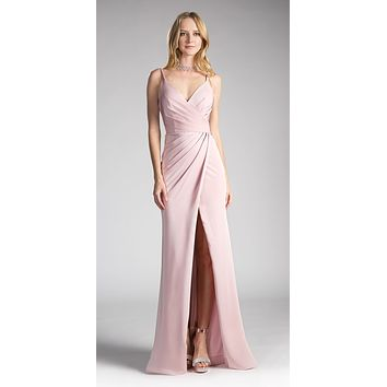 Tea-Rose Pleated Long Formal Dress Spaghetti Strap with Slit