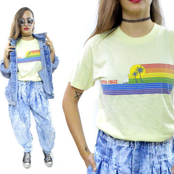 Vintage 80s Santa Cruz California Beach Color Bars 50/50 T Shirt Sz M