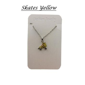 Family Friends party Board game Sports Necklace Bowling Necklace Rhinestone Crystal Bling For Sports Girls white yellow AT_41_3