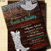Country Bridal Shower Invitation / Rustic theme / Boots & Bubbly Bridal shower / Wedding Shower Invite, Diamond Boot and Hat /Country Chic