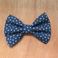 Navy Blue and White Star Hairbow
