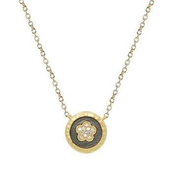 Vermeil Daisy Flower Disk Pendant Necklace, 15.5""