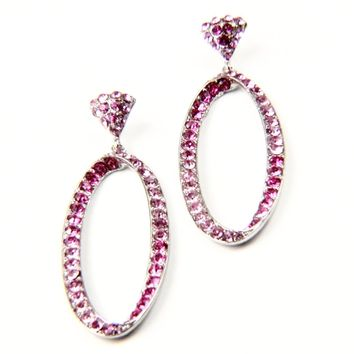 Oval Crystal Rhinestone Earrings