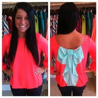 Bow Back Top-Coral-Mint