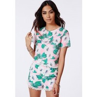 Missguided - Pink Tropical Print Pom Pom Detail Shell Top