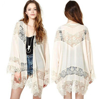 Women Gypsy Boho Hippie Lace Crochet Floral Kimono Cardigan Hollow Out Tops Blouse