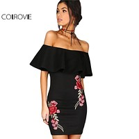 COLROVIE Dress Women Black Sexy Off Shoulder Embroidery Party Dresses 2017 Rose Applique Ruffle Elegant Bodycon Mini Dress