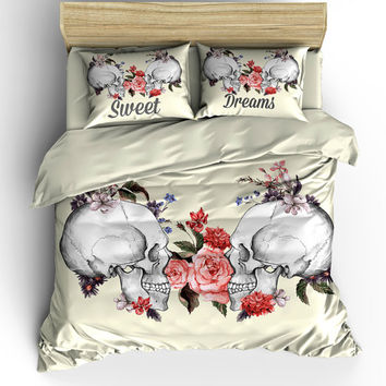"Calavera Skull  Bedding , Duvet Cover Set, Sugar Skulls, ""Sweet Dream"" Floral Beige Rose"