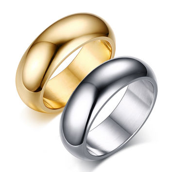 Never Fade 18k rose gold platinum plated Titanium Steel silver jewelry custom engraved letter / name Men wedding Rings couple