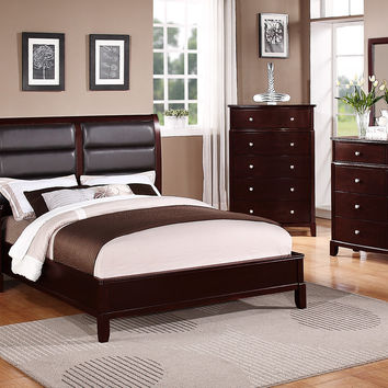 Poundex 5pc Bedroom Set Black Faux