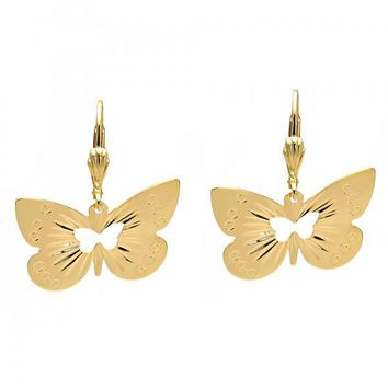 Gold Layered 5.078.012 Dangle Earring, Butterfly Design, Diamond Cutting Finish, Gold Tone