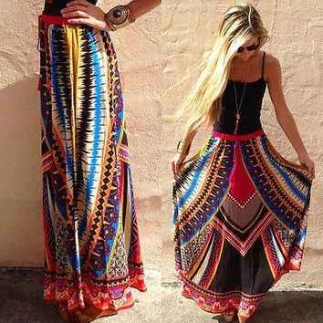 Sexy Women Summer Skirts Boho Chiffon Maxi Long Skirts Tribal women Clothing