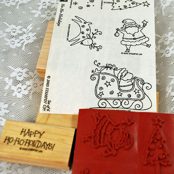 Stampin Up Rubber Stamps - Christmas - Ho Ho Holidays - RETIRED MINT and mostly unmounts - Scrapbooking, Cardmaking, Crafting