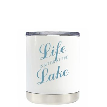 Life is better at the Lake Seafoam on White 10 oz Lowball Tumbler