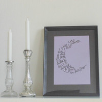 I love you... - black on light purple - DIN A4 - Wall Art Print handmade written - original by misssfaith