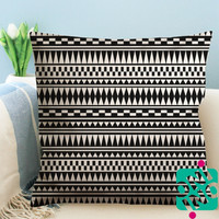 Aztec Black and White Zippered Pillow Case, Cushion Case, Pillow case