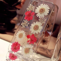 real pressed flower iPhone 6 case Natural flowers Daisy iPhone 5s case Dried flower iPhone case Pressed flower iPhone 5 case 4/4scase