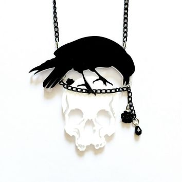 Acrylic Punk Rock Raven Flower Skull Pendant Necklace Personality Crow Skeleton Necklace For Women Girl Fashion Jewelry 8C0889