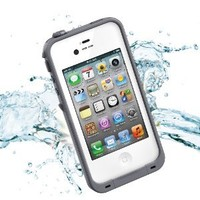 Leang Waterproof Shockproof and Dirtproof Case for iPhone 4 4S Life Dirt Proof Case - White with Gray + Cleaning Cloth