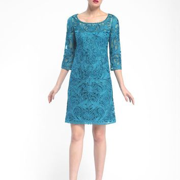 Sue Wong - Embroidered Bateau Neck Column Dress N5344