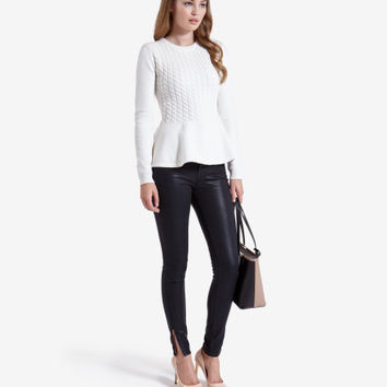 Cable knit peplum jumper - Natural | Sweaters | Ted Baker