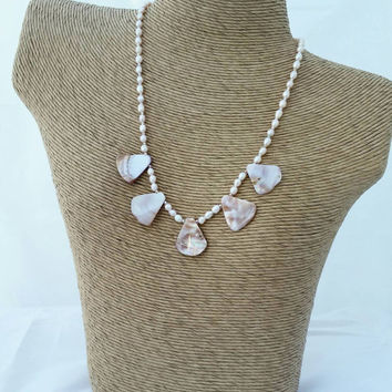 Mother of pearl necklace, pink mother of pearl, fan necklace, shell necklace, pink pearl necklace