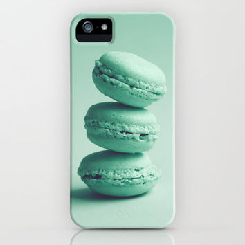 Sweet Turquoise Tower (Three Macaroons) iPhone Case by Andrea Caroline