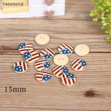 50pcs/lot  American flag wooden buttons 2-holes buttons15mm Sewing Scrapbooking DIY Clothing Accessories