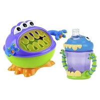 Nuby 2pc Monster Baby Feeding Set - Snack Keeper and 2 Handle Super Spout Trainer Cup