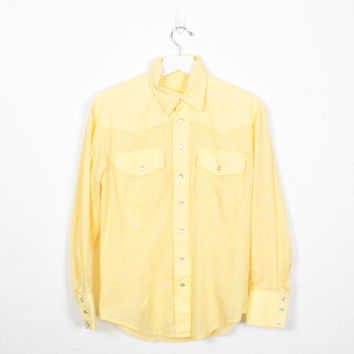 Vintage Pearl Snap Buttons Western Shirt 1970s Cowboy Shirt Yellow White Gingham Plaid Shirt 70s Cowgirl Shirt Rockabilly Shirt M L Large