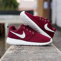 NIKE Women Men roshe run Running Sport Casual Shoes Sneakers Wine red