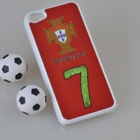 MagicPieces Plastic Snap on Case with Shaking Rhinestones for iPhone FIFA World Cup 2014 Brasil F.P.F Ronaldo 7 White iPhone 4/4S