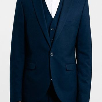 Men's Topman Navy Textured Skinny Fit Suit Jacket