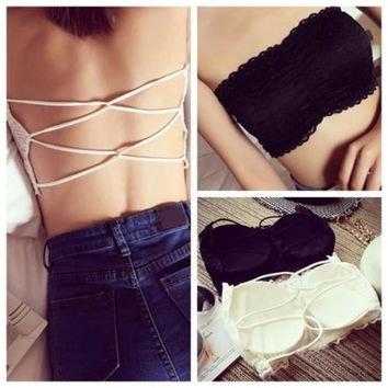 Feitong Women Lace Spandex Padded Strapless Crop Top Bra Cami Bralette Tank