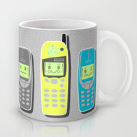Vintage Cellphone Pattern Mug by Chobopop