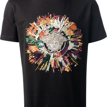 Versace Medusa Logo Embroidered T-Shirt