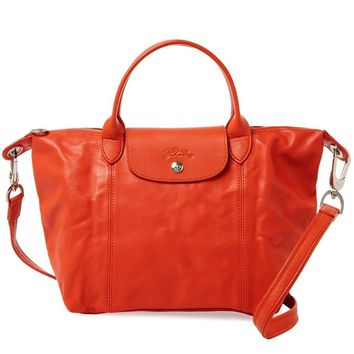 NEW LONGCHAMP Le Pliage CUIR Small Tote Leather Satchel Bag Orange Arizona