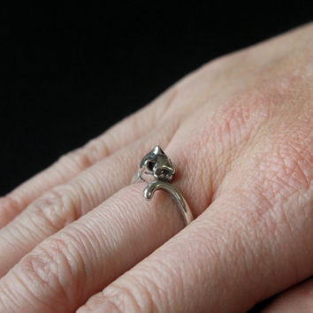 Kitty Cat Ring In Sterling Silver Overlay on Solid White Bronze