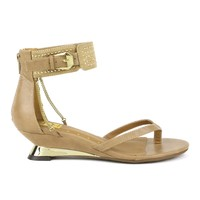 Fahrenheit Nena-01 Short Wedge Sandal in Taupe @ ippolitan.com