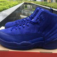 Air Jordan 12 Premium Deep Royal Blue Suede Wool Black Nylon Basketball Shoes Men sports Sneakers