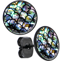 Black Anodized Post Blue Green Mermaid Scale Round Stud Earrings | Body Candy Body Jewelry
