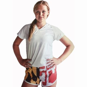 Womens Maryland Flag Split Shorts