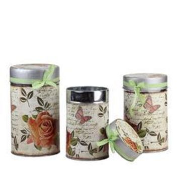 "Set of 3 Vintage Spring Rose and Butterfly Stackable Metal Canisters 7.5""  8.5"" and 9.5"""
