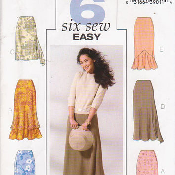 Pattern for 6 easy to sew straight skirts with tiered, fishtail, or godet mermaid hem misses size 12 14 16 Butterick BP373 or 4233 UNCUT