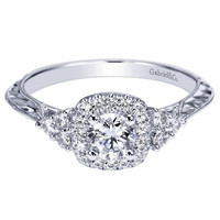 Gabriel Victorian Style Pre-Set Diamond Cushion Halo Engagement Ring