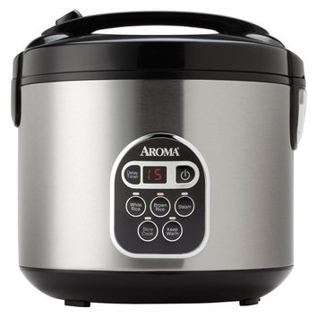 20-Cup Digital Cooked Rice Cooker and Food Steamer in Stainless Steel